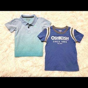 Boy's shirts, bundle of two- Hurley and Osh Kosh